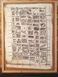 'Recto verso', gesso e pennarello su sughero, 50 x 64 cm., 2017