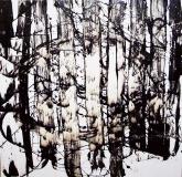 'The wood', tar and chalk on canvas, 80 x 80 cm., 2010