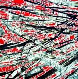 'Redblackwhite abstract', acrylic chalk and tar on canvas, 80 x 80 cm., 2011
