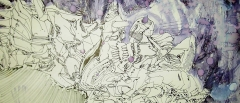 6. 'A brief journey', pen and water on paper, 10 x 35 cm., 2005