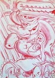 7. 'Little tale of my belly', crayon on paper, 21 x 29 cm., 2005