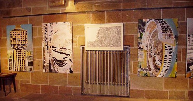 3 quadri figurativi (170 x 110) e uno astratto (100 x 60 cm ca)