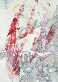 'Now I know you' (from 'F-104G series'), frottage and pen on paper, 21 x 29 cm., 2007