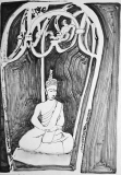 'caged buddha series', ink on paper, 21 x 29 cm., 2018