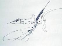 'Visione aerea' (dalla serie 'F-104G'), penna su carta, 21 x 29 cm., 2007