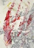 5 'Ora ti riconosco' (dalla serie 'F-104G'), frottage e penna su carta, 21 x 29 cm., 2007