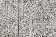 Trittico simbolico, acrilico e catrame su tele accostate, 150 x 100 cm., 2017