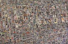 Le voci di Babele, mista su tavola, 140 x 90 cm., 2018