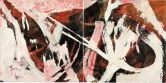 Coppa di testa, acrilico e gesso su tele accostate, 200 x 100 cm., 2005, Coll. Privata