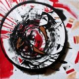 Tokyo Blues, acrilico catrame e gesso su tela, 100 x 100 cm, 2016