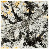 'Esplosione', acrilico gesso e catrame su tela, 100 x 100 cm., 2006 - Collezione Museo Muses a Chiaramonti (SS)