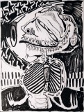 Assaggio, penna su cartone telato, 21 x 25 cm, 2020