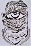 'monocchio', inchiostro su tela, 12 x 20 cm., 2017