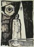 'buddha e la notte', inchiostro su carta, 100 x 70 cm., 2018
