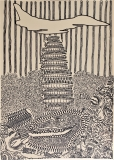 'Skull Bombing', pennarello su carta, 50 x 70 cm., 2017