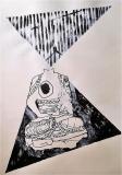 'transmissions', inchiostro su carta, 100 x 70 cm., 2018