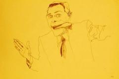 'Prendi i soldi e scappa', penna su carta, 21 x 32 cm., 2004