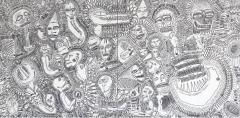 'Mother of all bones', pennarello su tele accostate, 200 x 100 cm., 2017
