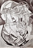 'Testa', penna su carta, 29 x 42 cm., 2004
