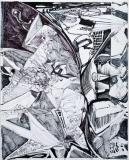 'Ustica-Solenzara', penna e pennarello su carta e tela, 30 x 40 cm., 2007