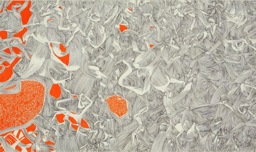 3-Disco-inferno-penna-e-pennarello-su-carta-spagnola-130-x-90-cm_-2006