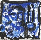 'Young knives', mista su carta, 12 x 12 cm., 2006